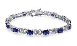Genuine Sapphire and Diamond Accent Tennis Bracelet by Valencia Gems