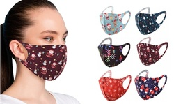 6-Pack: Fun Patterned  Holiday Themed Reusable Face Masks
