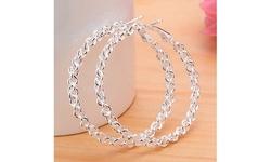 Women's S925 Silver Big Hoop Ear Circle Round Earrings