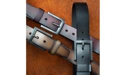 "Mio Marino Men's Genuine Leather Belt, Classic Jean Style, 1.5"" Width"