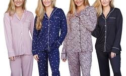 Doublju Women's Long Sleeve Button Down Pajama Sleepwear (2 pcs Set)