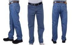 Maxxsel Oscar Jeans Men's Straight Leg Washed Denim Jeans (Size 28-48)
