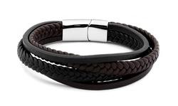 Men's Multi Row Leather Bracelet By Elite Force