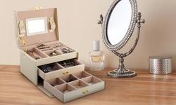 iMounTEK Jewelry Case Organizer, 3-Tier Lockable Travel Jewelry Box-Syn. Leather