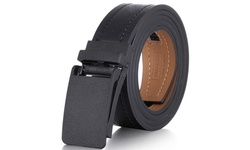 Mio Marino Men's Casual Stitched Leather Ratchet Belt w/ LINXX Buckle Design