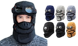 Goggles Mask Ski Full Face Breathable Bomber Cap Winter Thermal Hats