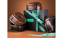 Mio Marino Men's Classic Ratchet Leather Dress Belt w/ Automatic Buckle