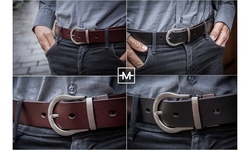 Mio Marino Men's Classic Reversible Leather Dress Belt w/ Removable Buckle