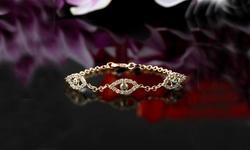 18k Gold Plated Evil Eye Bracelet Made in Swarovski Crystal