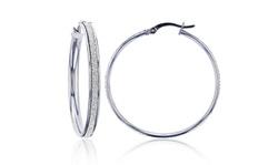 Sterling Silver Rhodium White Glitter 35X3.5mm Hoop Earring