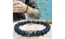 Beads Bracelet Elastic Charm Bracelet Lava Natural Stone For Men And Women