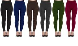 Women's Fleece-Lined Seamless Leggings (6-Pack)