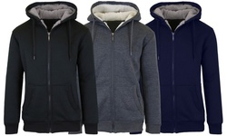 Men's Heavyweight Sherpa Fleece-Lined Zip Hoodie Sweater (2-Pack; S–XL)