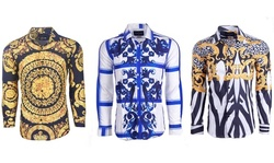 Suslo Couture Men's Printed Fashion Slim-Fit Long Sleeve Button Down Shirt