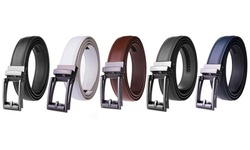 Braveman Men's Smooth Leather Automatic-Buckle Ratchet Classic Dress Belt