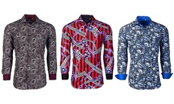 Suslo Couture Men's Stretch Printed Long Sleeve Button Down Shirt