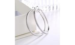 14k Gold or Sterling Silver Large Hoop Earrings with Swarovski Crystals