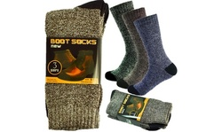 6 Pairs Mens Winter Thermal Cushioned Heavy Duty Cotton Work Boots Socks 9-13
