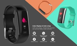 Water Resistant Smart Fitness Tracker with Heart Rate and Blood Pressure Monitor