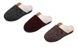 Haute Edition Tweed Cozy Faux Fur Lined Scuff Clog Indoor Outdoor Slippers