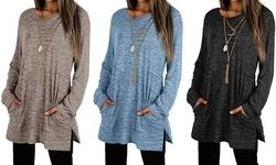 Women Long Sleeve Shirts Casual Oversized Sweatshirts With Pockets Tunic Tops