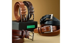 Mio Marino Men's Two-Pack Prong Buckle Classy Genuine Leather Dress Belt