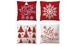 Set of 4 Snowflake Christmas Throw Linen Pillow Covers Pillow Case Home Decor