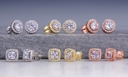 Halo Stud Earrings with zircon Element crystals