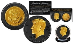 John F. Kennedy 100th Birthday Celebration Black Ruthenium & 24K Gold Plated Tri