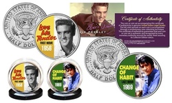 ELVIS PRESLEY * First & Last Movies * Kennedy Half Dollar US 2-Coin Set LICENSED
