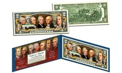 FOUNDING FATHERS OF THE UNITED STATES Colorized Genuine Two-Dollar Bill