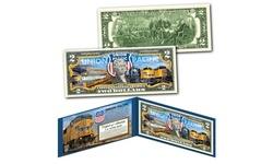 UNION PACIFIC Railroad Locomotive Train Company Genuine U.S. Two-Dollar Bill