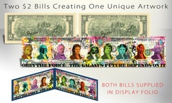 Star Wars Pop Art Hand-Signed by Rency Panoramically on Two Genuine U.S. Bills