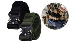 Mens Heavy-Duty Quick-Release Metal Buckle Tactical Belt