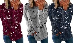 Women's Graffiti Printed Round Neck Long Sleeve T-shirt Casual Top