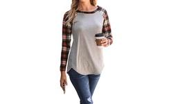 Women's Long Sleeve Raglan Plaid Sleeve Tee. Plus Sizes Available