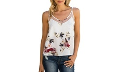 Women's Printed Mesh Inset Camisole. Plus Sizes Available