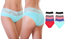 Laser Cut Hiphugger Panties with Lace Accent Designs (12-Pack)