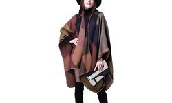 Women Scarves Plaid Ponchos Cape Oversized Shawls Wraps Cashmere Pashmina