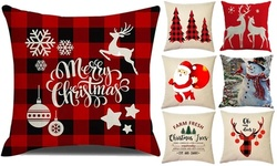 Merry Christmas Decorations Cotton Linen Pillow Covers Set(not included pillow)