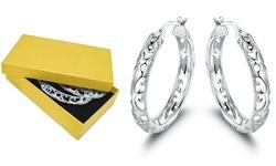 Filigree-Cutout Hoop Earrings in Rhodium Plating