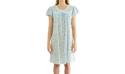 EZI Women's Short Sleeve Floral Print Cotton/Poly Knit Nightgown With Satin Trim