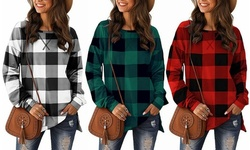 Women's Side Splits Long Sleeve Buffalo Plaid Casual Pullover Tunic Tops