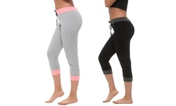 Coco Limon Capri Joggers with Ribbed Trim (2-Pack)