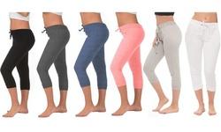 COCO LIMON Women's 4-Pack French Terry Capri Joggers (Regular & Plus Sizes)