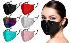 6 Pack : Reversible Sequined Cotton Fashion Face Masks With Adjustable Ear Loops