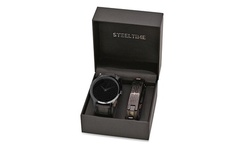 Men's  Leather And Black IP Our Father Prayer Watch Sets By Steeltime