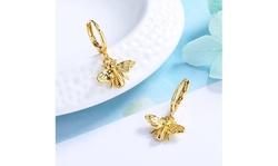 14K Gold Bee Huggie Earrings