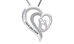 Cubic Zirconia I Love you mom Heart Necklace