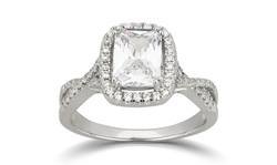 Cushion and Round Cubic Zirconia Halo Engagement Ring in Sterling Ring